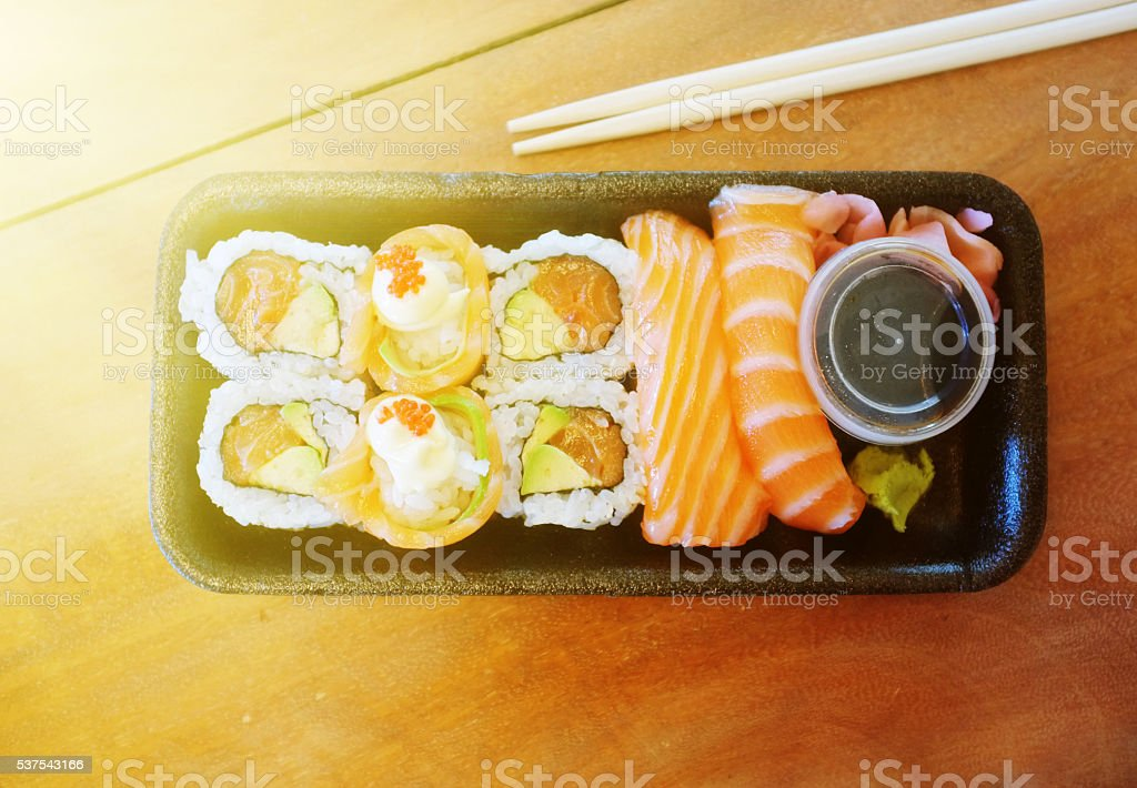 Overhead, sushi, raw, fish, salmon, Asian, Japanese food, meal stock photo