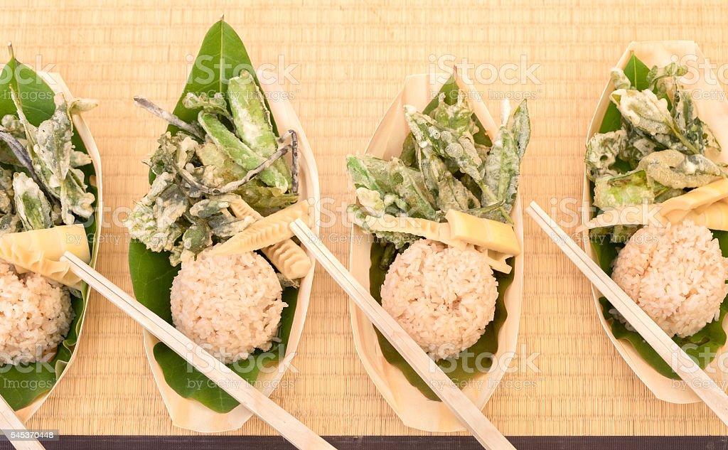 Overhead View, Japanese Vegan, Vegetarian Picnic Lunch, Compostable Bowl, Chopsticks stock photo