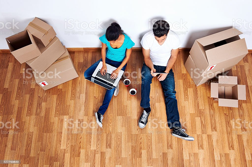 overhead view moving in stock photo