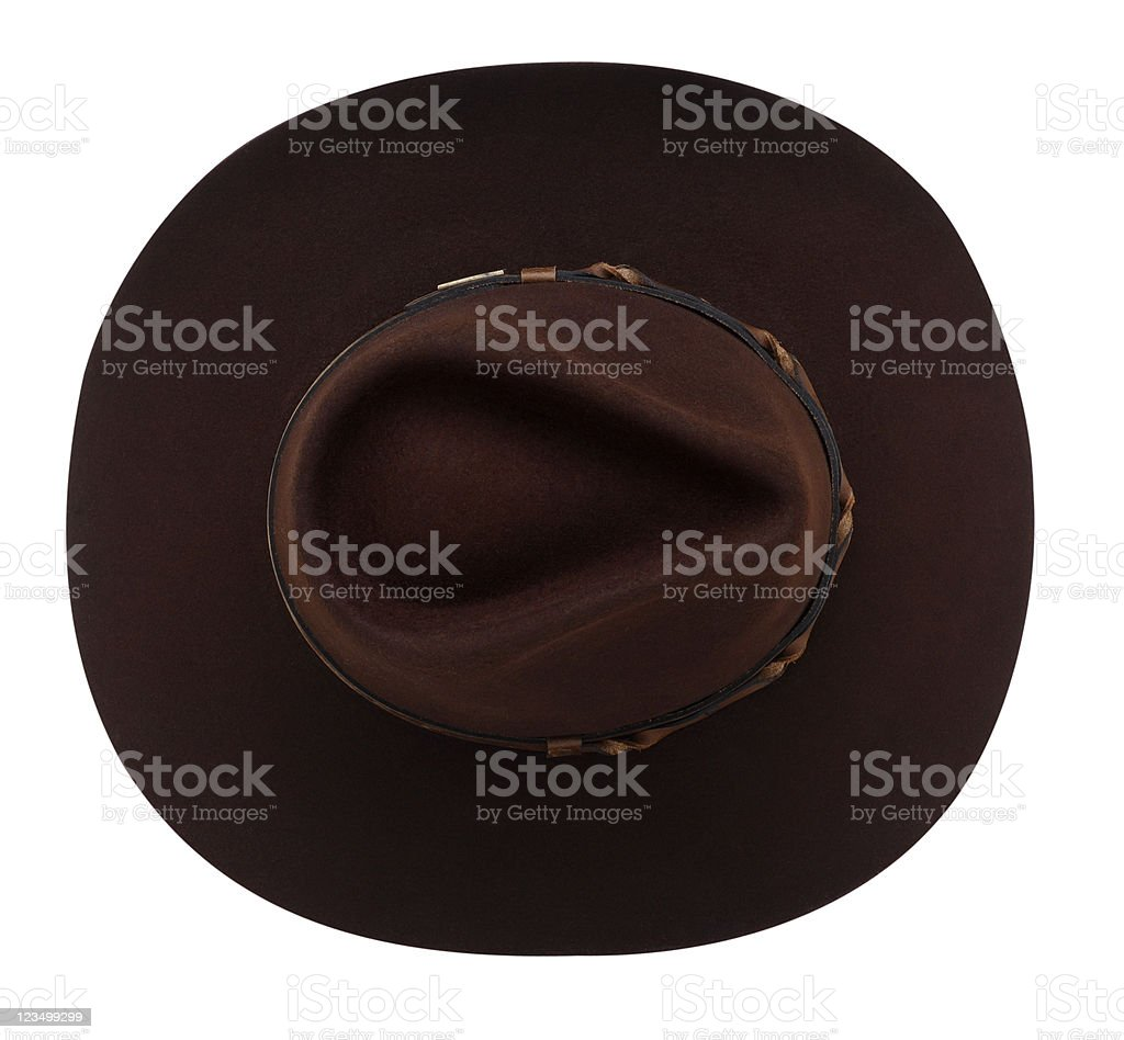 Overhead View of a Brown Cowboy Hat on White royalty-free stock photo