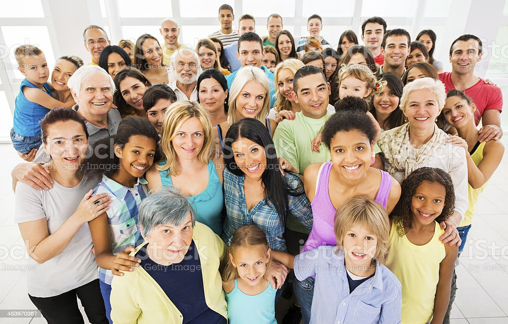 Overhead view of a group of smiling people stock photo