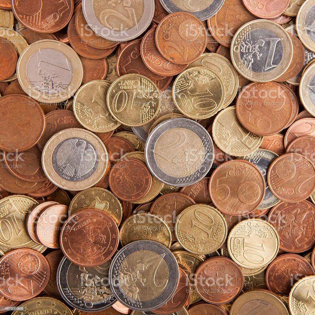 Overhead view of a lot of euro coins stock photo