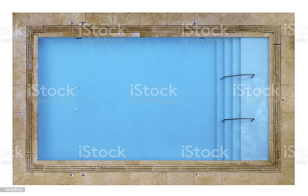 Overhead View of a Swimming Pool Isolated on White stock photo