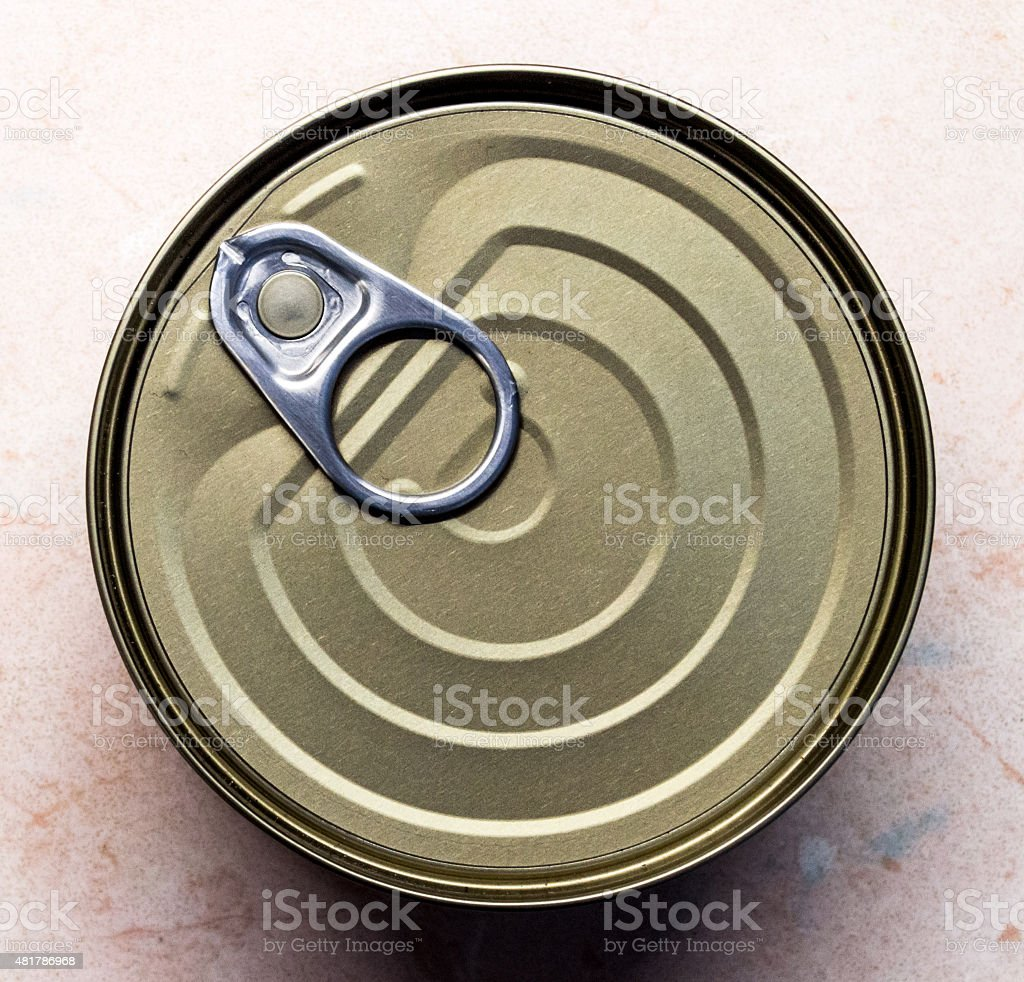 Overhead View of a Tin Can with a Ring Pull royalty-free stock photo