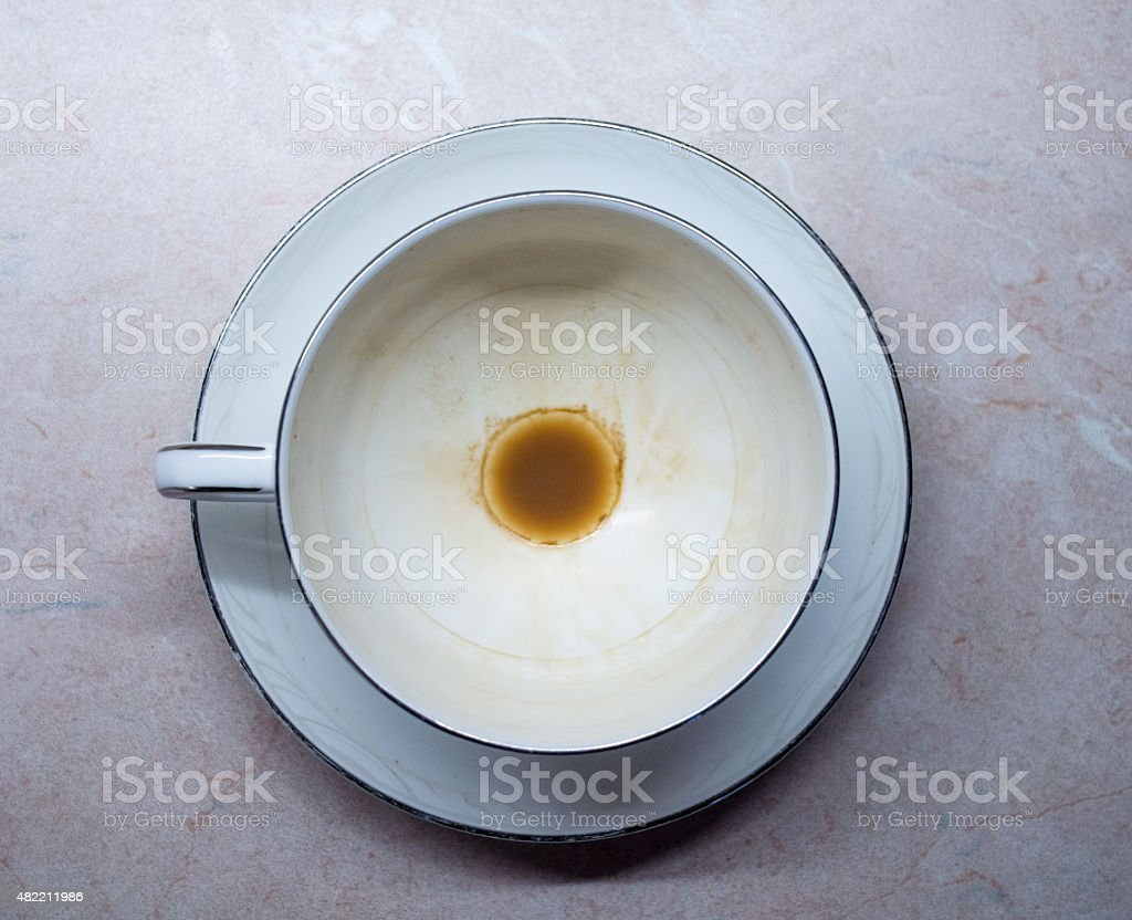 Overhead View of a Used Empty Cup and Saucer/Teacup royalty-free stock photo