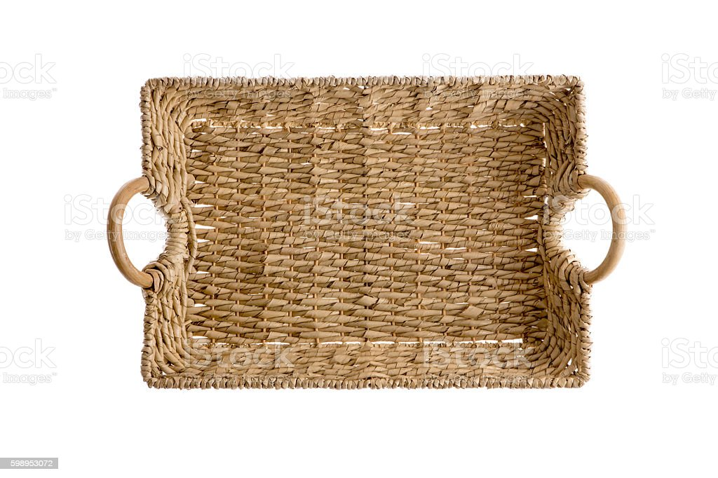 Overhead view of a wicker tray with handles stock photo