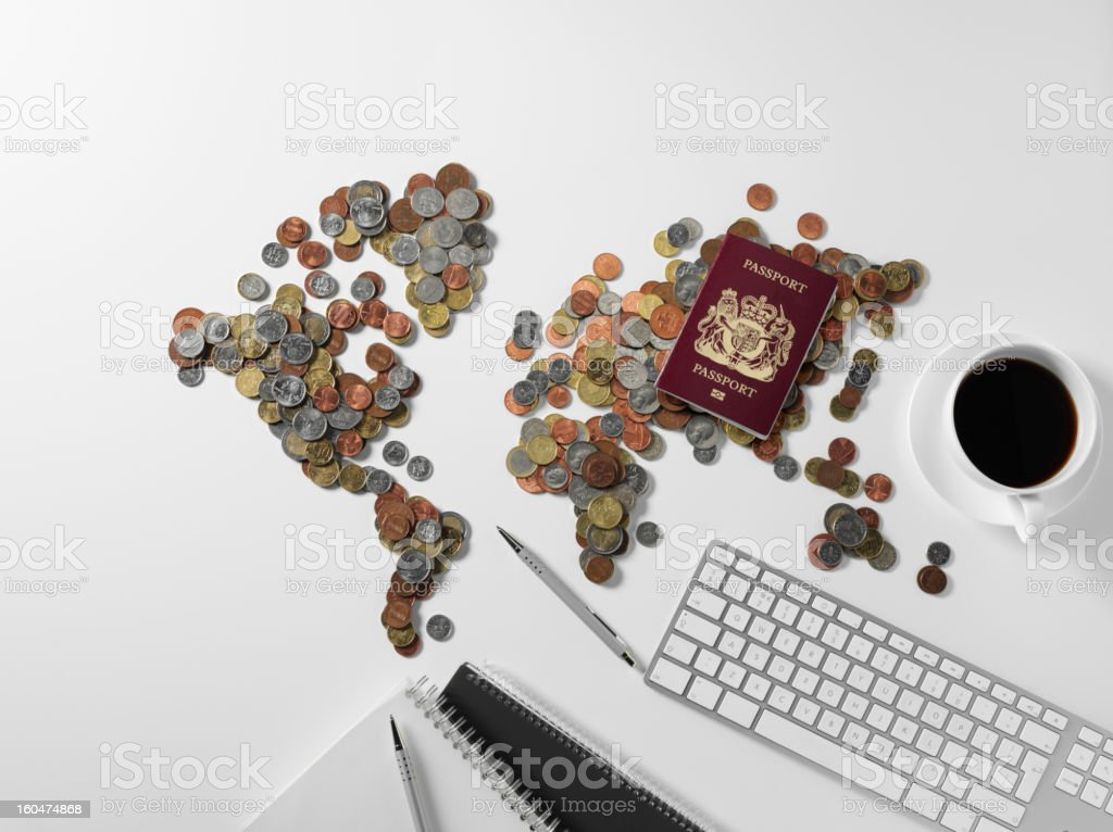 Overhead View of a World Map in Currency royalty-free stock photo
