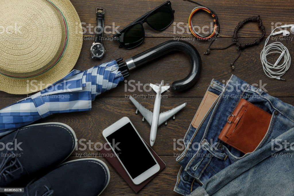 Overhead view of accessories fashion men clothing with technology...