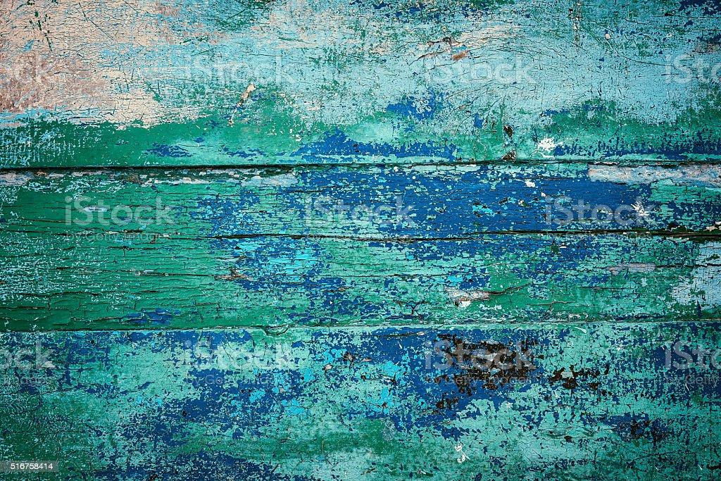Overhead view of blue-green coloured wooden door stock photo