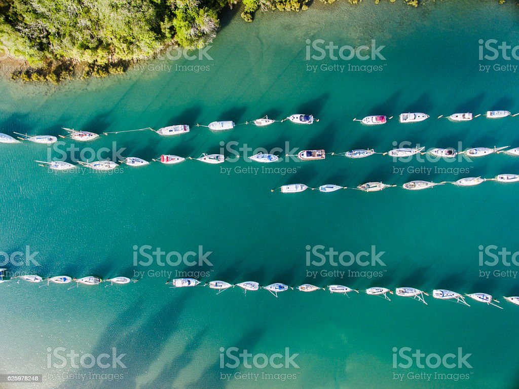 Overhead view of boats. stock photo