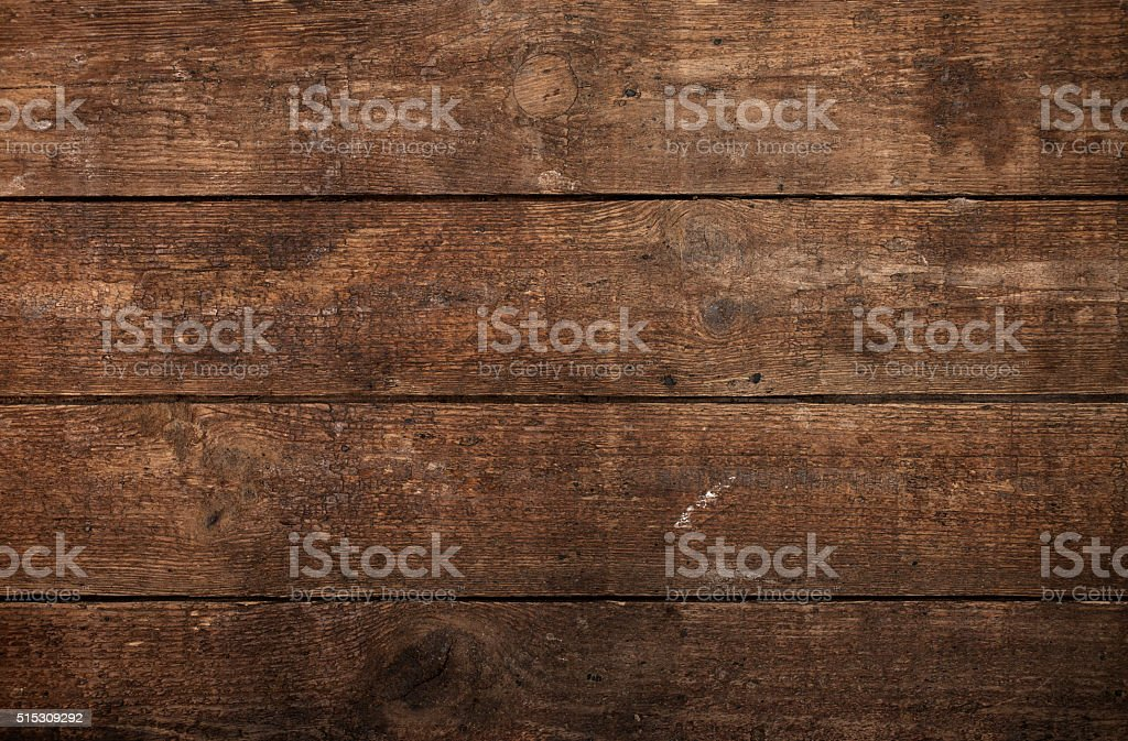 Overhead view of brown wooden table stock photo