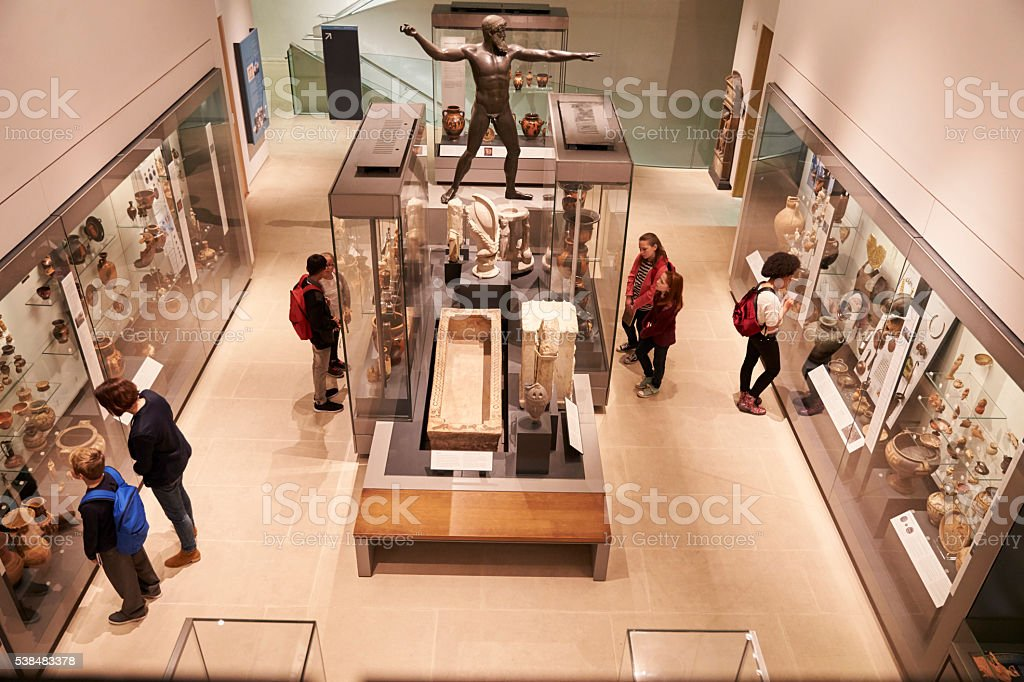 Overhead View Of Busy Museum Interior With Visitors stock photo