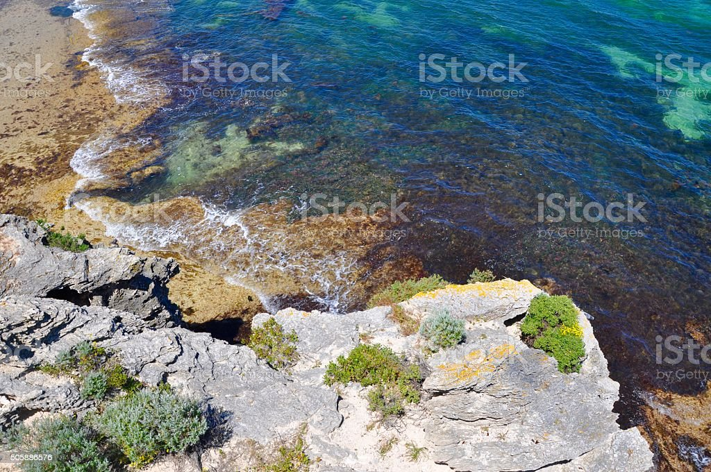 Overhead View of Cape Peron Limestone Beach stock photo