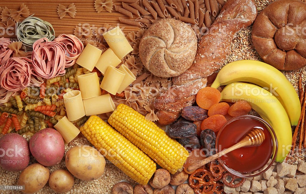 Overhead view of carbohydrate fruits and vegetables royalty-free stock photo
