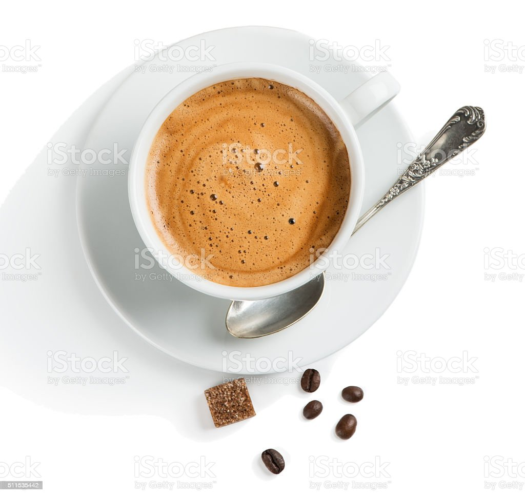 Overhead view of coffee with foam stock photo