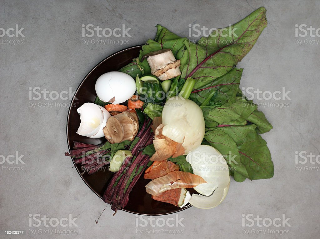 Overhead view of compostable food waste pile stock photo