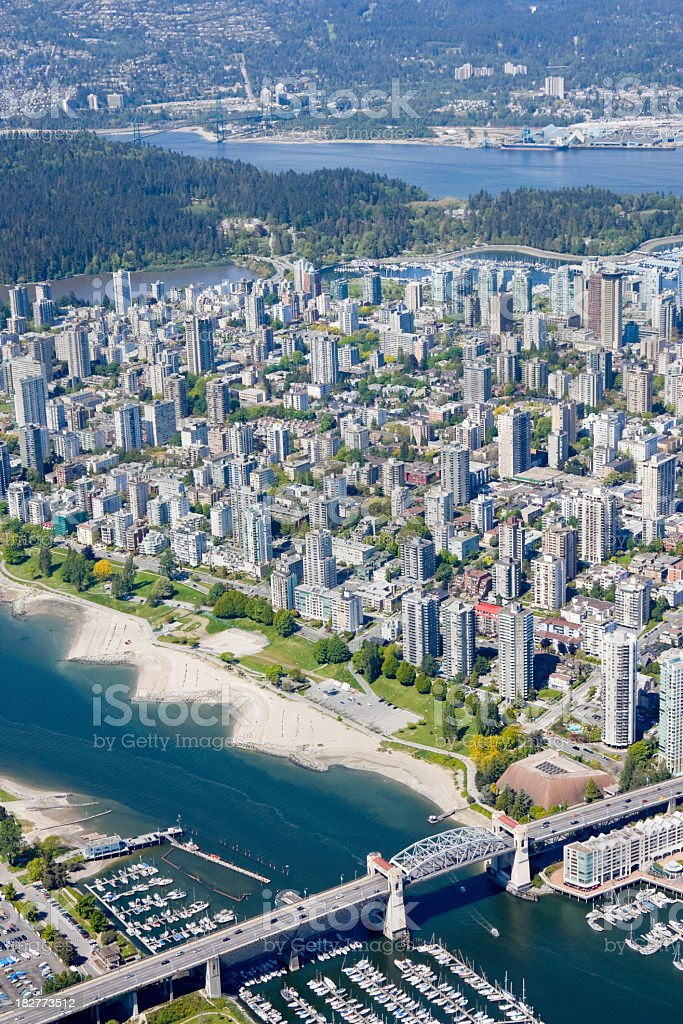 Overhead view of downtown Vancouver royalty-free stock photo