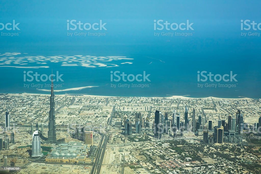 Overhead view of Dubai during the day royalty-free stock photo