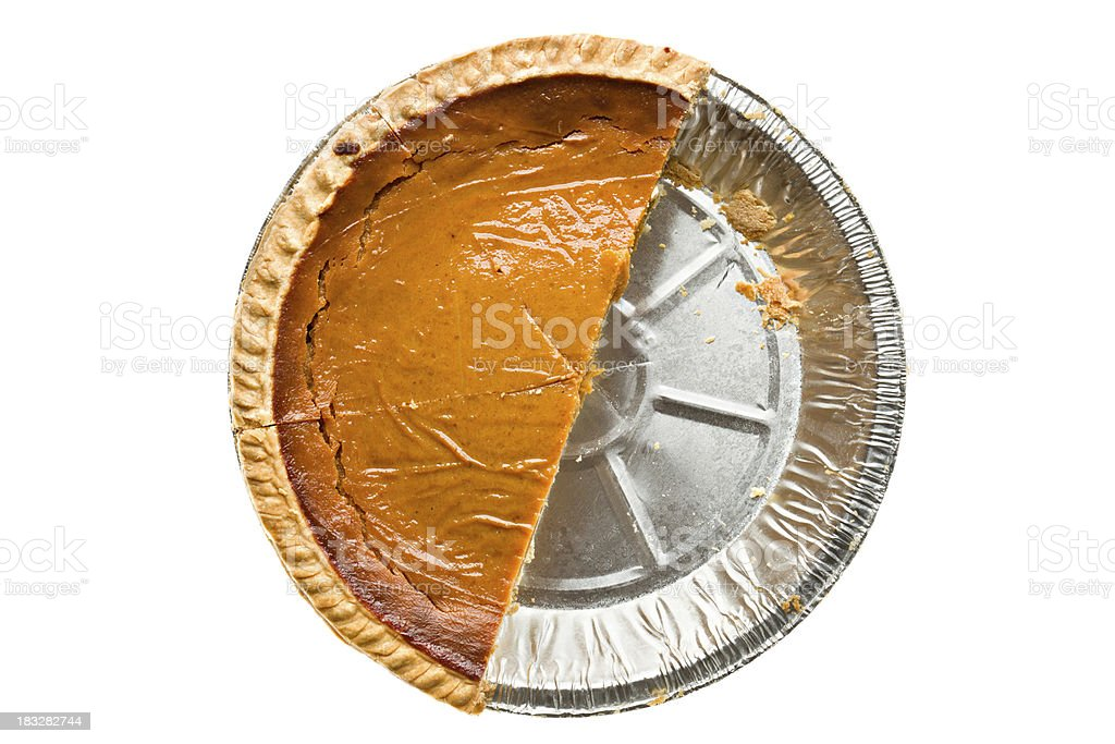 Overhead View of Half A Pumpkin Pie royalty-free stock photo