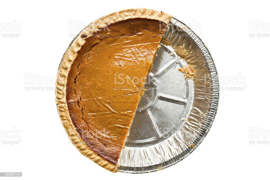 Overhead View of Half A Pumpkin Pie stock photo