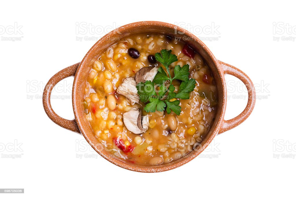 Overhead view of hearty bean and vegetable soup stock photo