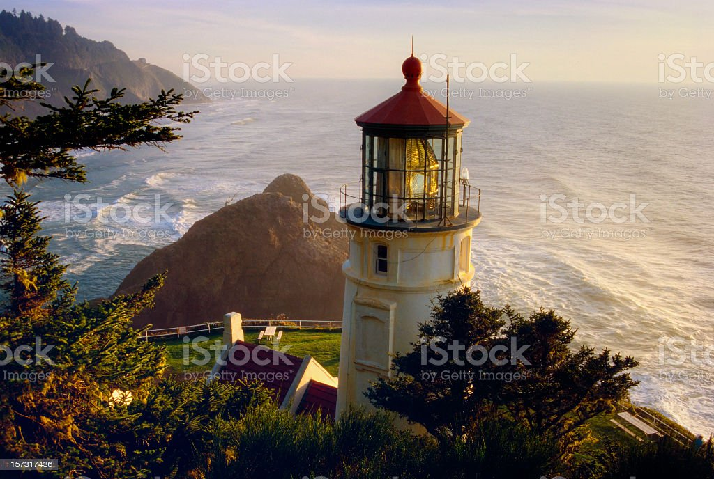 Overhead view of Heceta Head Lighthouse royalty-free stock photo