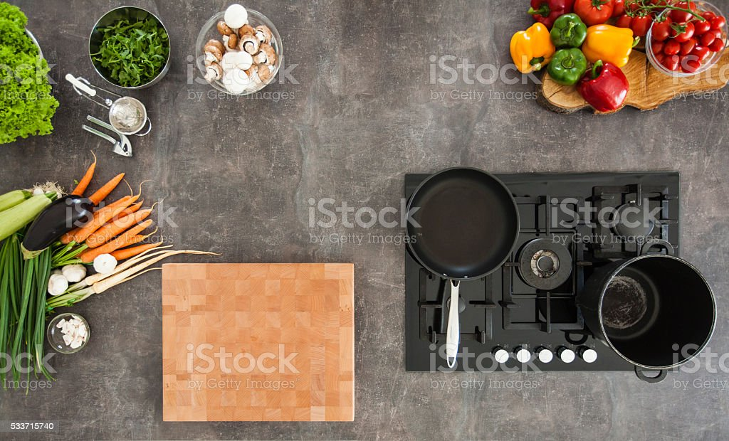 Overhead view of kitchen counter with stove stock photo