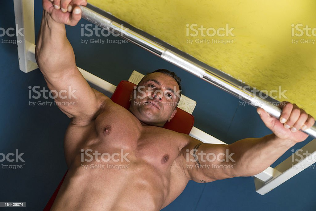 Overhead View of Man Weight Lifting royalty-free stock photo