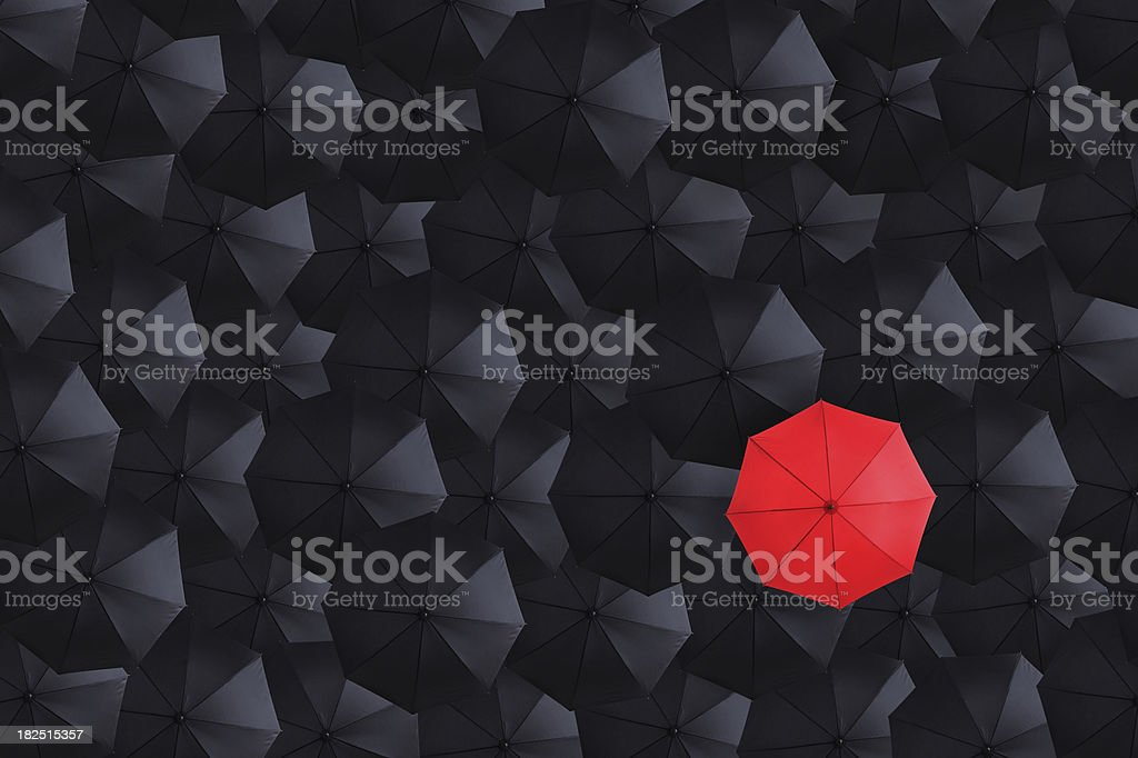 Overhead View of Many Umbrellas stock photo