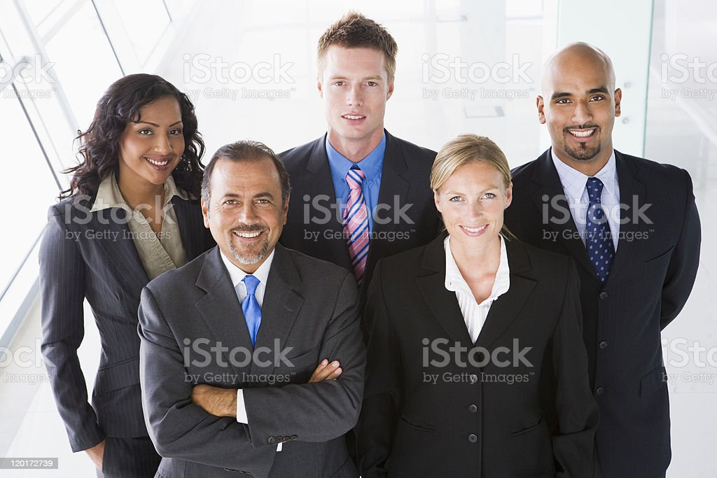 Overhead view of office staff stock photo