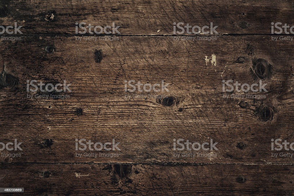 Overhead view of old brown wooden table stock photo