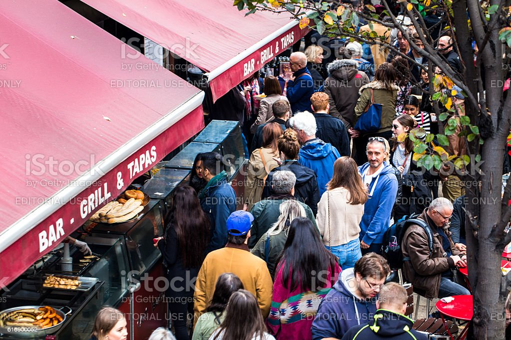 Overhead view of people at Borough Market, London, UK stock photo
