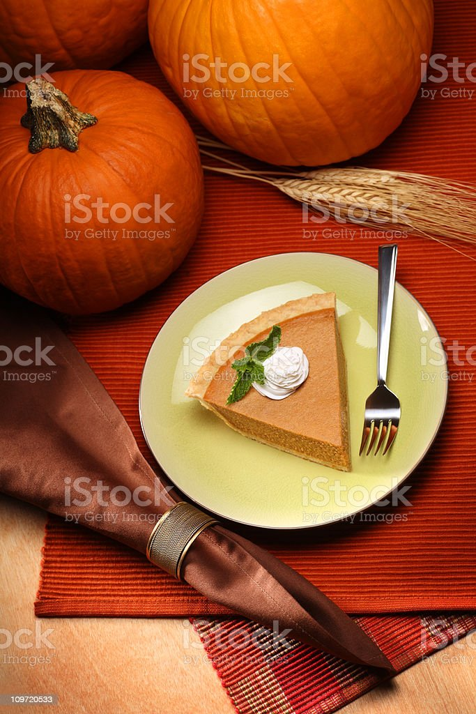 Overhead View of Pumpkin Pie royalty-free stock photo