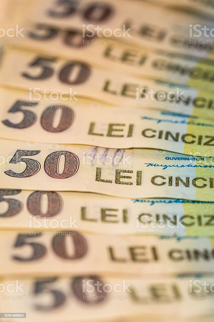 Overhead view of Romanian Currency and Banknotes in a row stock photo