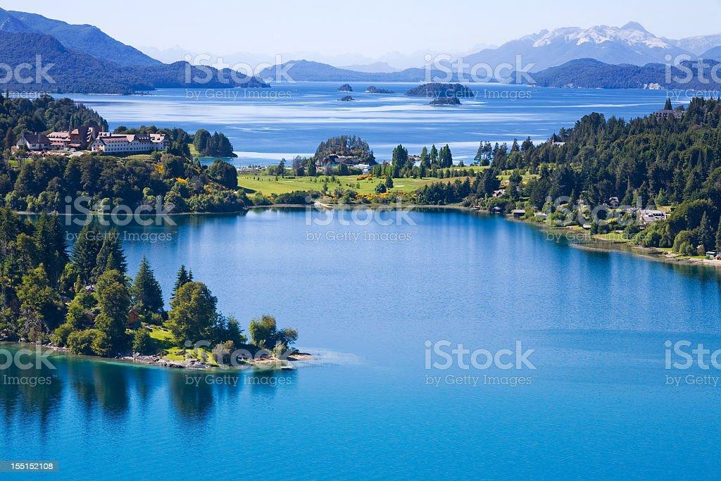 Overhead view of San Carlos de Bariloche, Argentina stock photo