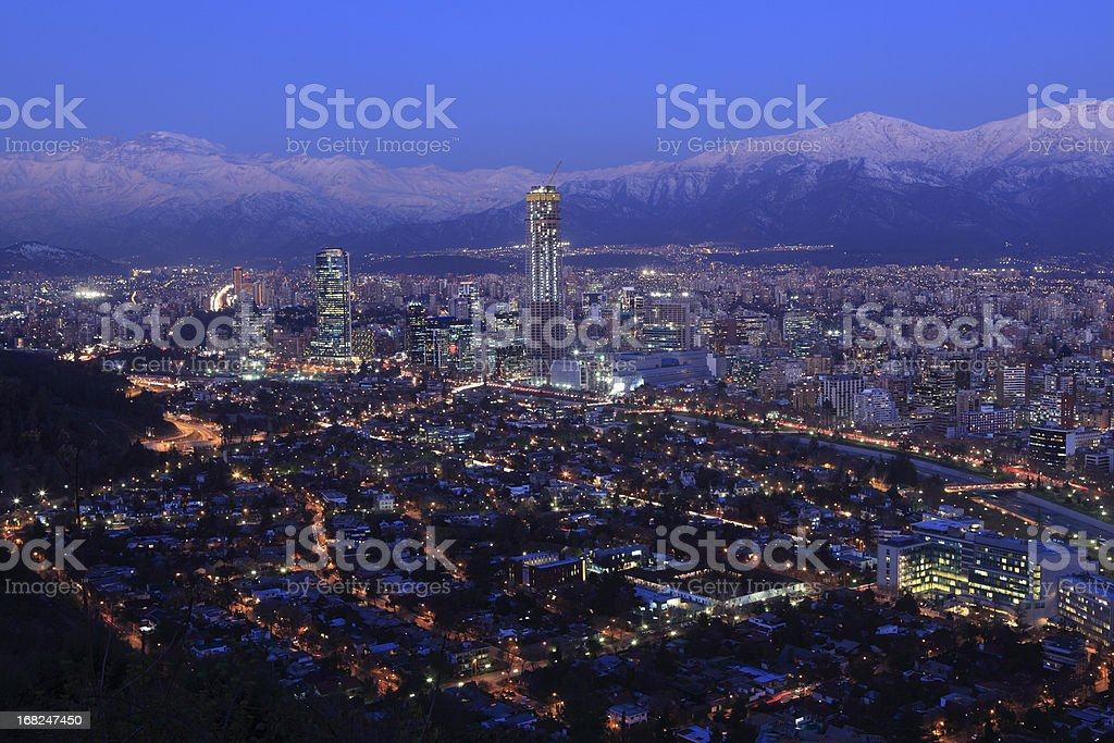 Overhead view of Santiago at dusk stock photo