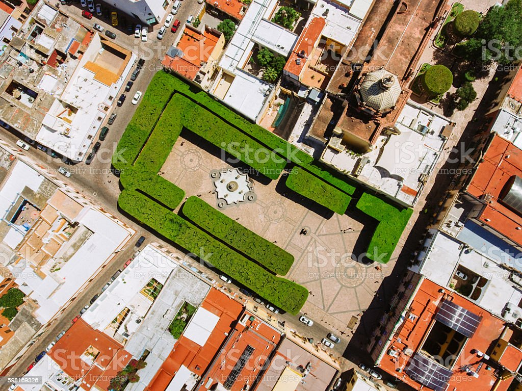 Overhead view of Santiago de Queretaro Mexico stock photo