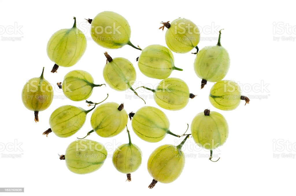 Overhead View of Some Ripe Gooseberries Isolated Against White royalty-free stock photo