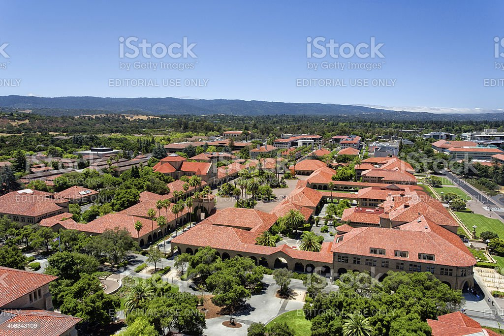Overhead View of Stanford University stock photo