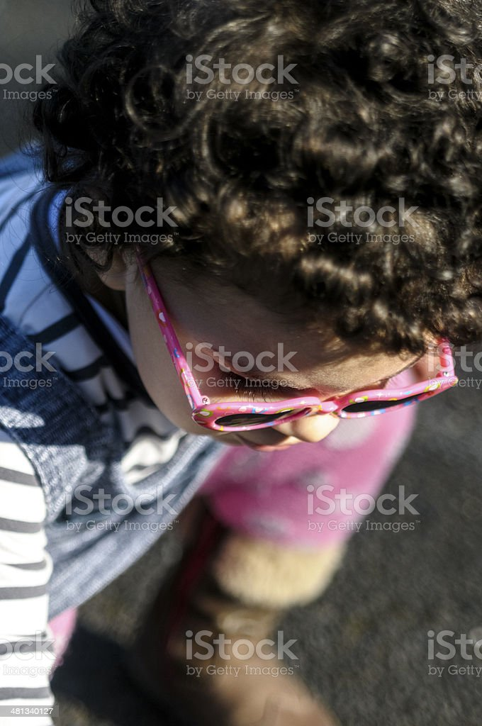 PEOPLE: Overhead View Of Toddler Kneeling royalty-free stock photo