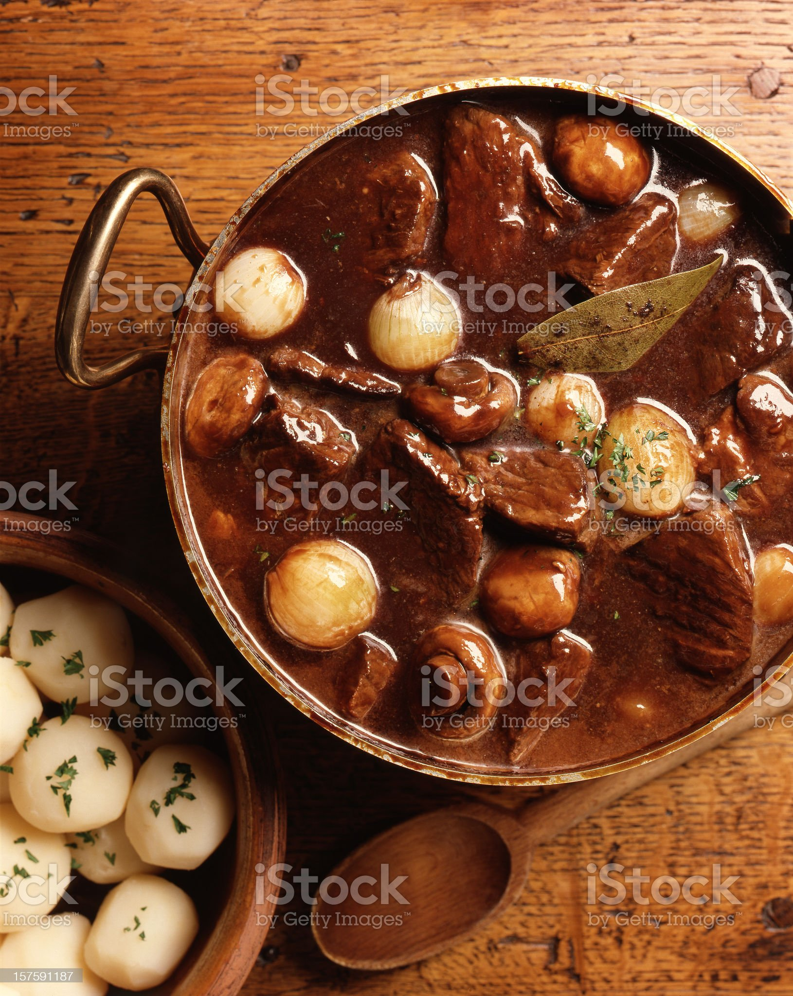 Overhead view of traditional French beef burgundy dish royalty-free stock photo