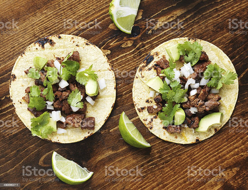 overhead view of two authentic street tacos stock photo