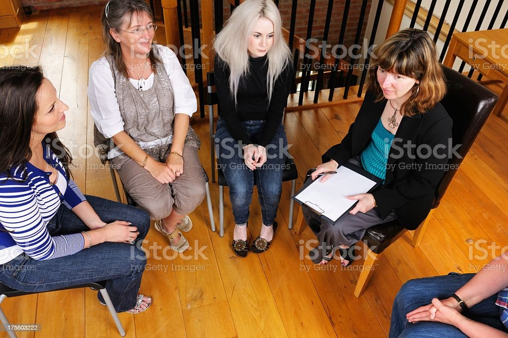 Overhead View Of Women's Support Group stock photo