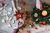 overhead view on christmas table with cookies and Advent wreath