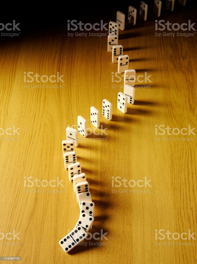Overhead View on the Domino Effect royalty-free stock photo
