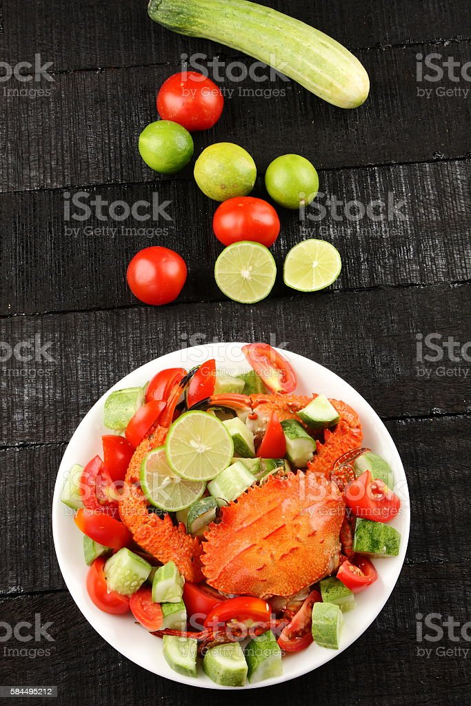 Overhead view-Delicious crab salad. stock photo