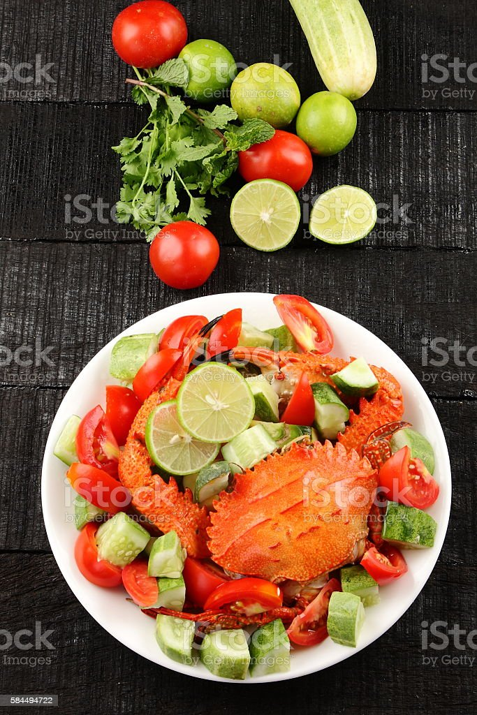 Overhead view-summer salad with crab and organic vegetables stock photo