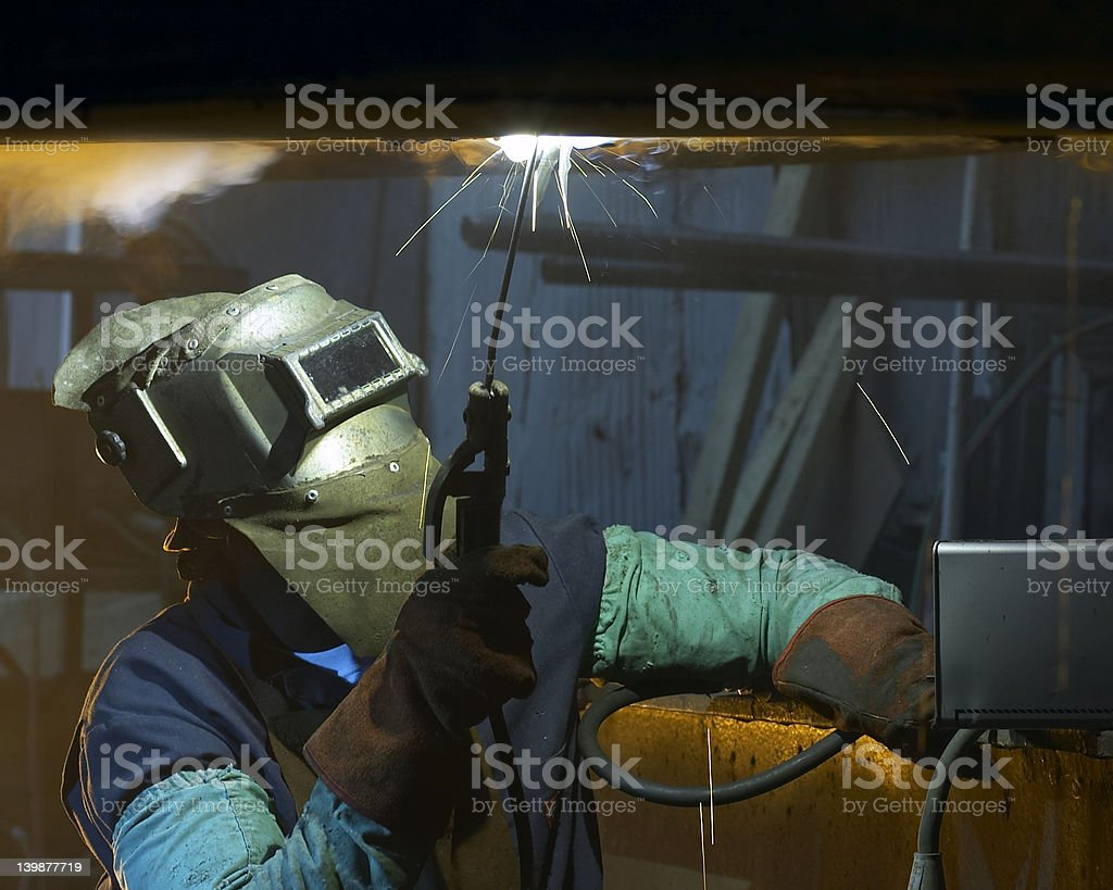 overhead welding royalty-free stock photo