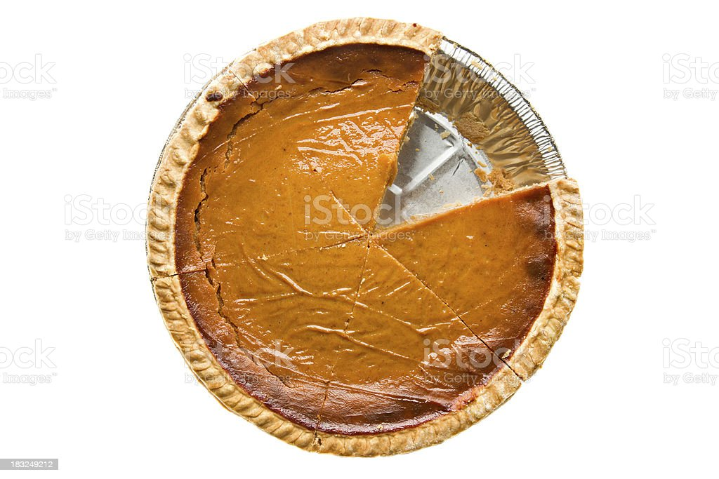 Overhead Whole Pumpkin Pie Sliced One Missing stock photo