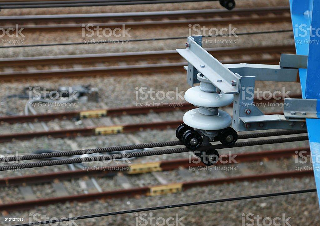 Overhead wire of the train foto de stock libre de derechos